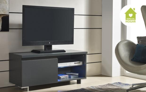 Mueble para tv 1 puerta con luz led descuento 63 79 for Mueble para tv con puertas